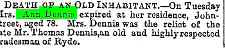 Newspaper reporting of the death of Ann Dennis (Aunt Ann)