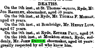 Newspaper reporting of the death of John Dennis (Uncle John)