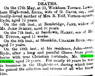 Newspaper reporting of the death of Thomas Dennis (Uncle Thomas)